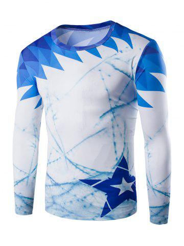 Shops Round Neck Long Sleeve Printed T-Shirt BLUE 2XL