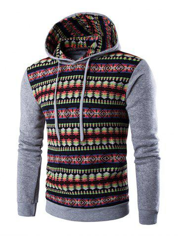 Discount Ethnic Style Stripe Printed Hoodie - M LIGHT GRAY Mobile