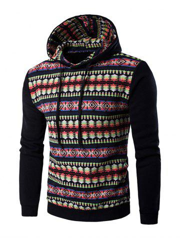 Outfit Ethnic Style Stripe Printed Hoodie - 2XL BLACK Mobile