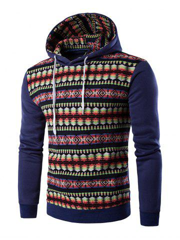 Unique Ethnic Style Stripe Printed Hoodie - 2XL DENIM BLUE Mobile