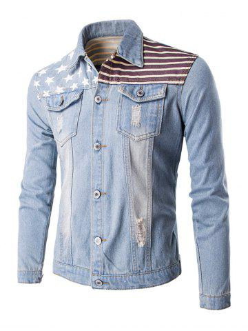 New Flag Print Frayed Design Denim Jacket