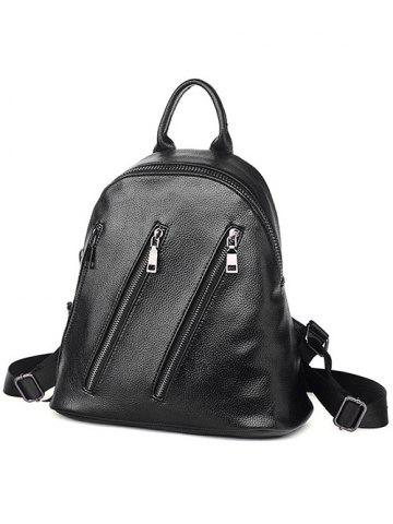 Affordable Textured Leather Metal Zippers Backpack - BLACK  Mobile