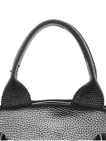 Shops Textured Leather Metal Zippers Backpack - BLACK  Mobile