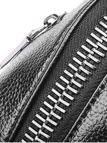 Latest Textured Leather Metal Zippers Backpack - BLACK  Mobile