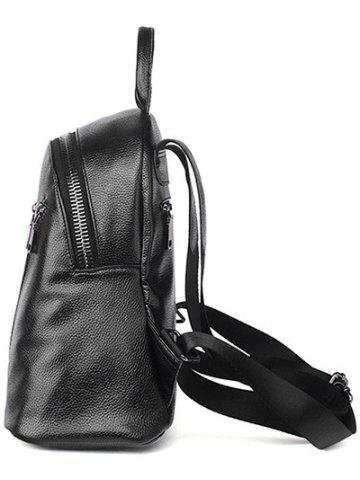 Fancy Textured Leather Metal Zippers Backpack - BLACK  Mobile