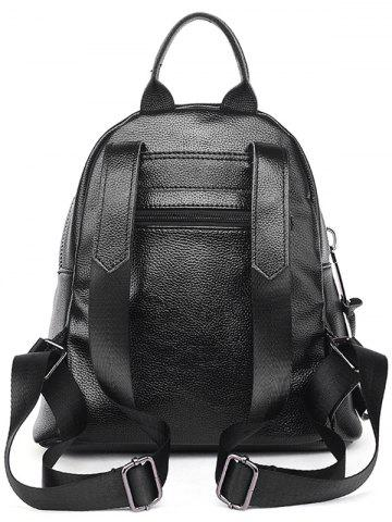 Trendy Textured Leather Metal Zippers Backpack - BLACK  Mobile