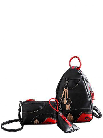 Latest Knots PU Leather Leaf Pattern Backpack BLACK
