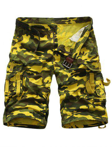 Cheap Zipper Fly Multi Pockets Camouflage Cargo Shorts