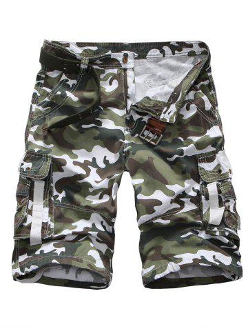 Online Zipper Fly Multi Pockets Camouflage Cargo Shorts - 34 WHITE Mobile