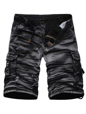 Latest Crinkly Zipper Fly Multi Pockets Rivet Embellished Cargo Shorts