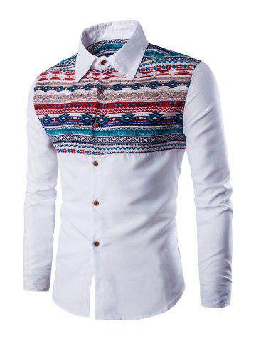 Affordable Ethnic Geometric Print Long Sleeve Shirt - XL WHITE Mobile