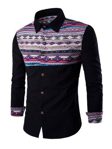 Chic Ethnic Geometric Print Long Sleeve Shirt - L BLACK Mobile