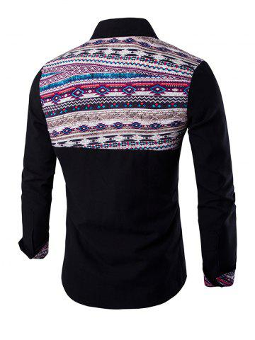Outfits Ethnic Geometric Print Long Sleeve Shirt - M BLACK Mobile