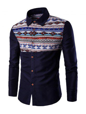 Outfits Ethnic Geometric Print Long Sleeve Shirt - 2XL CADETBLUE Mobile
