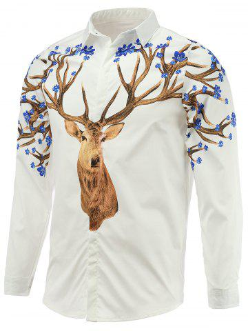 Chic Turn-Down Collar Long Sleeve Sika Deer Printed Shirt