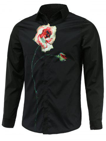 Trendy Rose Print Turn-Down Collar Long Sleeve Shirt