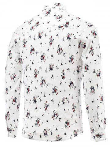 Unique Tiny Flowers Print Turn-Down Collar Long Sleeve Shirt - XL RED Mobile