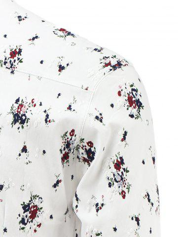 Online Tiny Flowers Print Turn-Down Collar Long Sleeve Shirt - XL RED Mobile