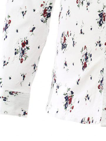 Latest Tiny Flowers Print Turn-Down Collar Long Sleeve Shirt - XL RED Mobile