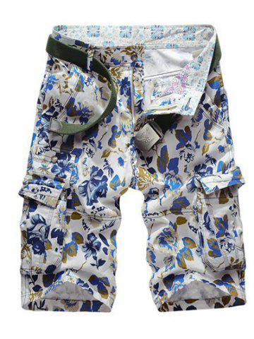 Latest Floral Print Multi Pockets Zipper Fly Cargo Shorts