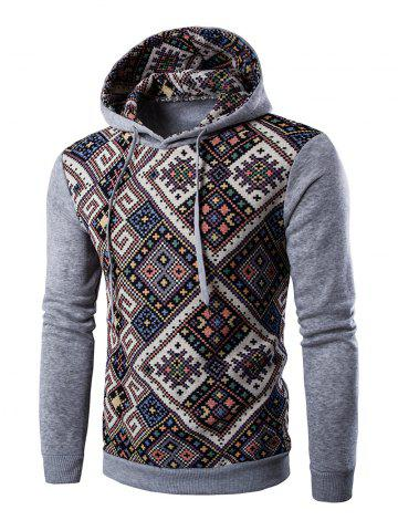 Cheap Ethnic Style Geometric Printed Hoodie