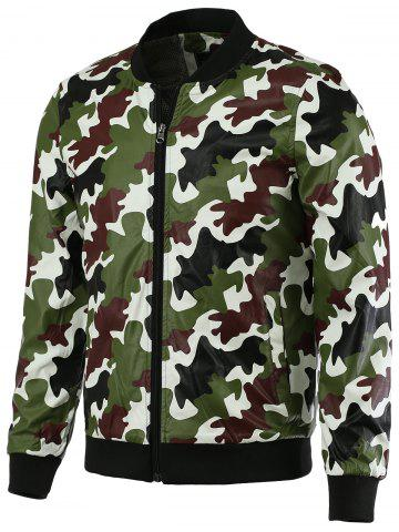 Stand Collar Camo Bomber Jacket