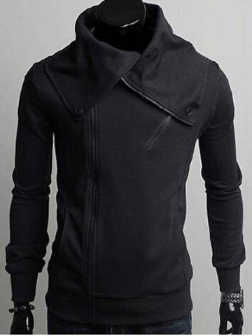 Shops Wide Lapel Collar Zippers Design Casual Hoodie
