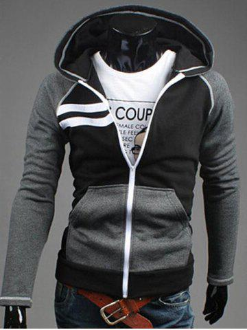 Outfits Patchwork Design Zipper Flying Casual Hoodie BLACK 2XL