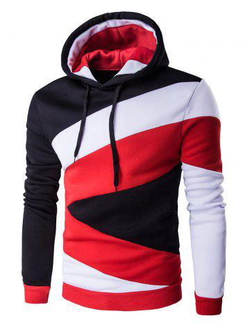 Affordable Color Blocks Spliced Long Sleeve Black Red Hoodie RED WITH BLACK XL