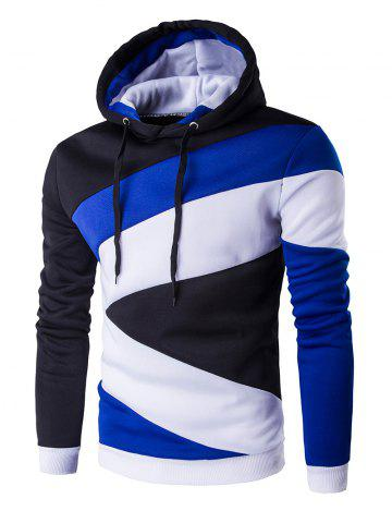 Color Blocks Spliced Long Sleeve Hoodie - Blue And Black - Xl