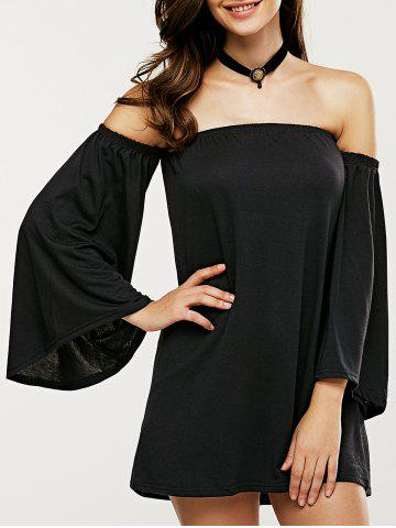 Outfit Off The Shoulder Bell Sleeve Mini Dress BLACK XL