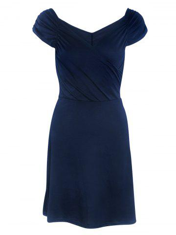 Shops Cape Sleeve V Neck Ruched Mini Dress DEEP BLUE M
