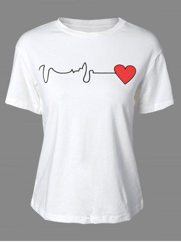 Fancy Stylish Round Neck Short Sleeve Heart Print Women's T-Shirt
