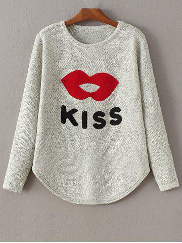 Outfits Round Collar Lips and Letter Jacquard Sweater