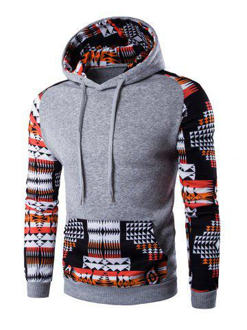 Hot Patchwork Design Geometric Print Hoodie LIGHT GRAY 2XL