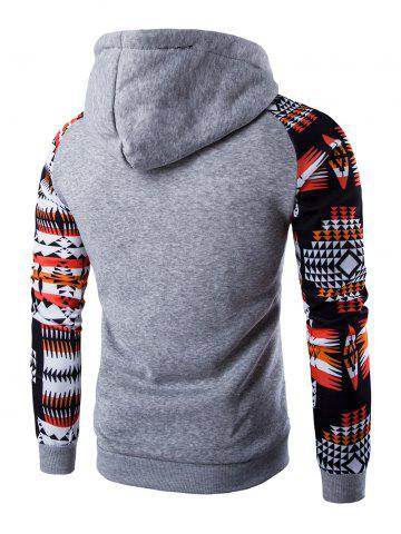 New Patchwork Design Geometric Print Hoodie - LIGHT GRAY M Mobile