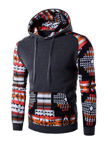 Trendy Patchwork Design Geometric Print Hoodie - DEEP GRAY XL Mobile
