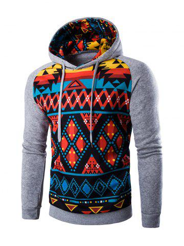 Discount Cartoon Geometric Printed Hoodie LIGHT GRAY 2XL