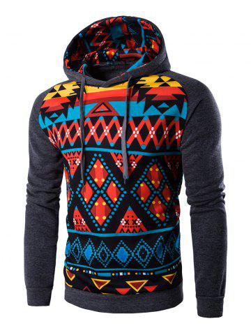 Shop Cartoon Geometric Printed Hoodie - 2XL DEEP GRAY Mobile