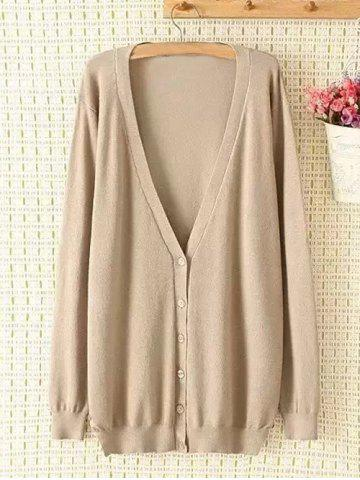 Sale Plus Size Plunging Neck Buttoned Cardigan KHAKI 2XL