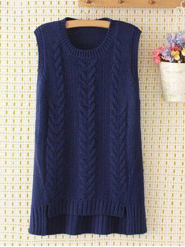 Asymmetric Plus Size Jacquard Knitted Tank Top - PURPLISH BLUE 3XL