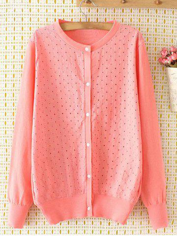 Latest Embroidered Single-Breasted Plus Size Cardigan PINK 3XL