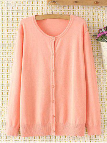 Plus Size Long Sleeve Single-Breasted Cardigan - PINK 4XL