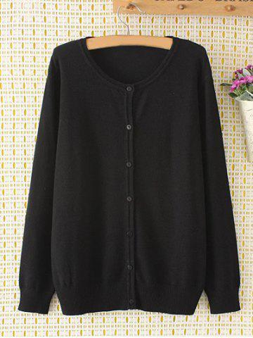 Plus Size Long Sleeve Single-Breasted Cardigan - BLACK 4XL