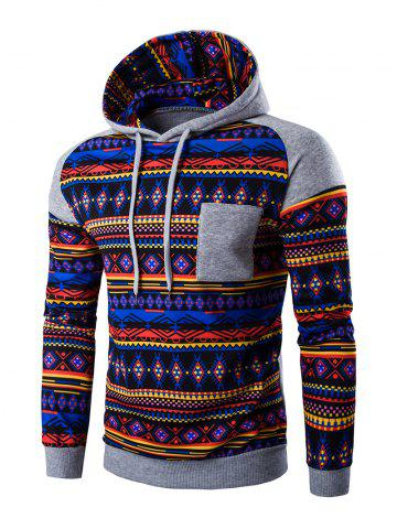 Chic Ethnic Style Printed Hoodie LIGHT GRAY 2XL