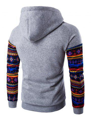 Shop Ethnic Style Printed Hoodie - LIGHT GRAY XL Mobile