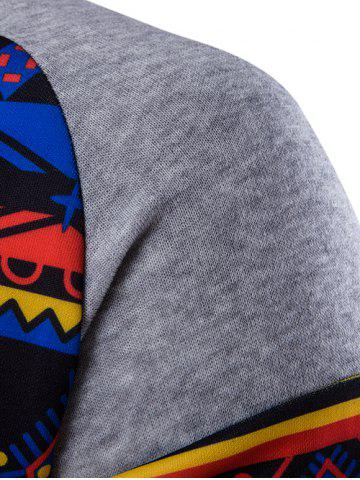 Cheap Ethnic Style Printed Hoodie - LIGHT GRAY M Mobile