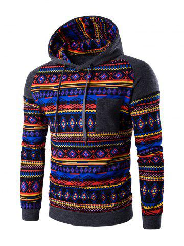Best Ethnic Style Printed Hoodie - 2XL DEEP GRAY Mobile