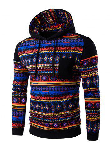 Hot Ethnic Style Printed Hoodie - BLACK L Mobile