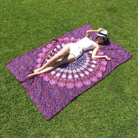 Seductive Mandala Yoga Mat Gypsy Cotton Tablecloth Beach Throw Shawl Wrap Scarf - Purple - One Size